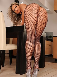 MILF in fishnet lingerie Angie Angel getting her booty destroyed