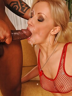 Hot blonde sucks a big dick and gets an anal interracial bang