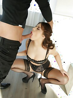 Euro wife Nikki Waine taking cumshot in mouth after bj
