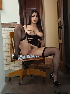 Valentina Nappi presents her fine tits and furry pussy in a great solo