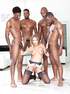 Britney Amber in sexy lingerie taking on BBC in interracial gangbang