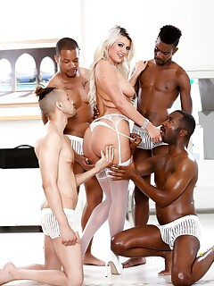 Gorgeous slut Layla Price looses her big tits for gangbang in white stockings