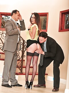 Glasses wearing Dava Foxx in stockings and heels sucks cock in cuckold porn
