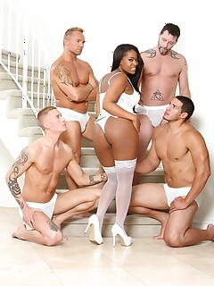 Ebony beauty with big ass and tits Monique Symone with few white guys