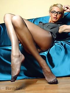 aPantyhose - Smoking hot long legs in exciting black pantyhose