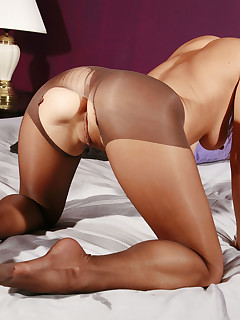 Exotic chick with pantyhose is ready to show off every inch of her skin at home.