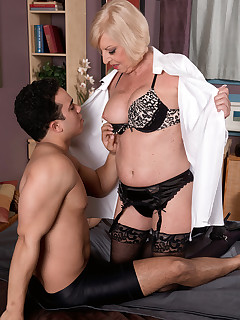 60 Plus MILFs - She's fucking him. She's old enough to be his grandmother - Scarlet Andrews and Rocky (39 Photos)