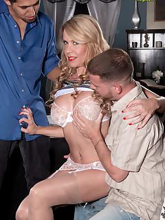 Naughty Mag - Desiree gets Spitroasted - Desiree Dalton, Juan Largo, and Tony Rubino (41 Photos)